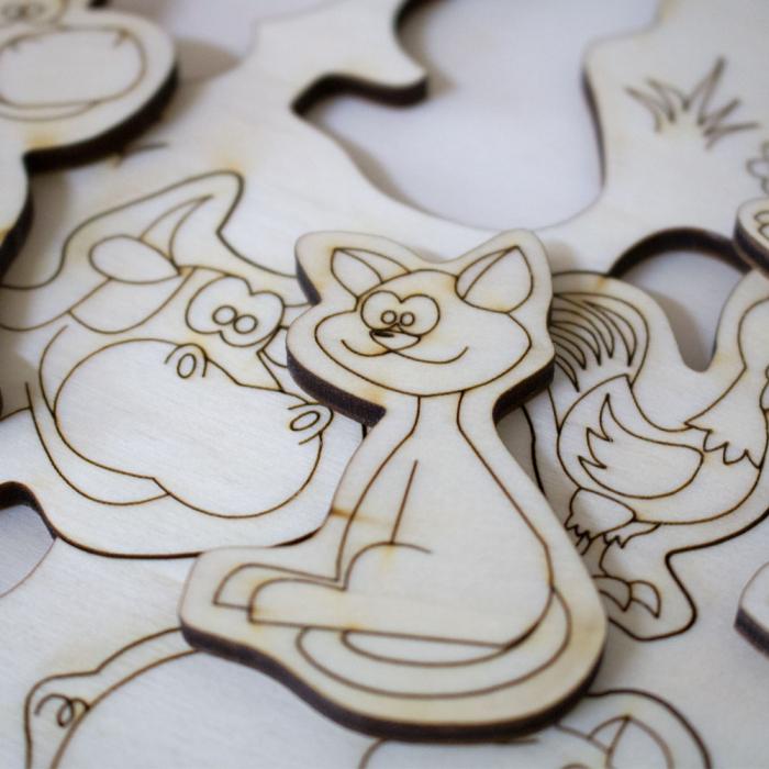 """Puzzle din lemn personalizat , pentru copii,  """"Ferma Animalelor"""" 4"""
