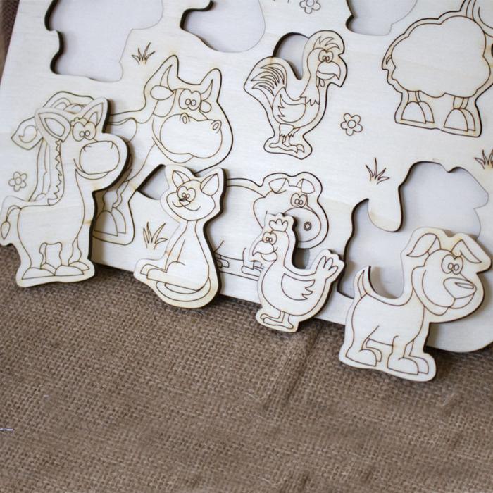 """Puzzle din lemn personalizat , pentru copii,  """"Ferma Animalelor"""" 1"""
