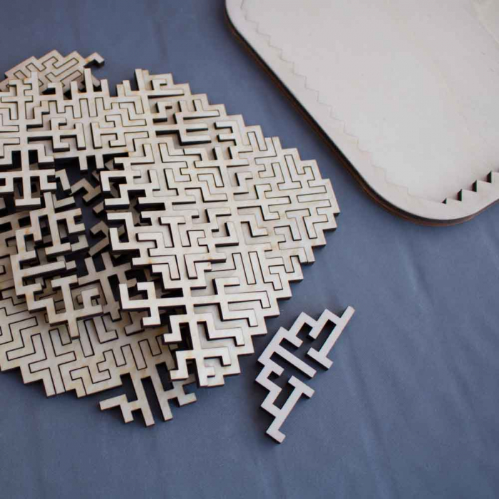 """Puzzle Distractiv Din Lemn, Pentru Adulti Si Copii """"Antreneaza-Ti Mintea"""" [3]"""