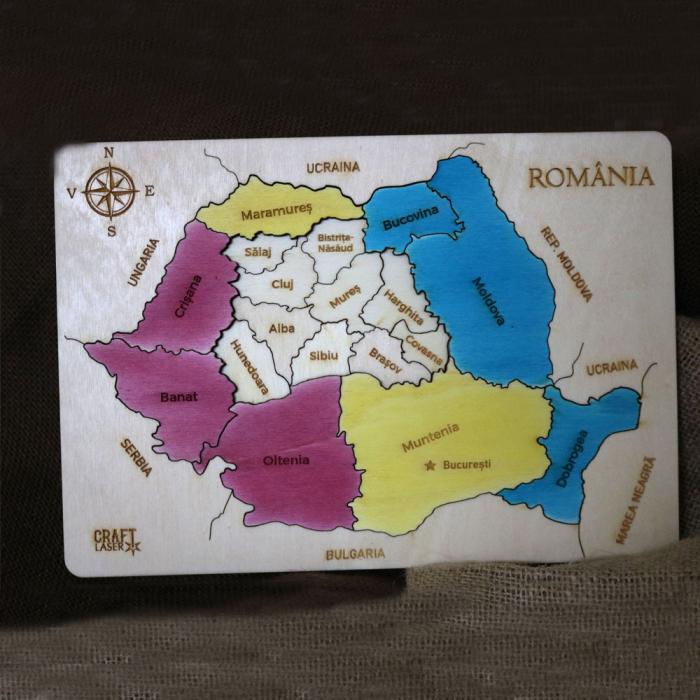 Puzzle Dublu Din Lemn, Gravat, Harta Romaniei Pe Judete Si Regiuni 13
