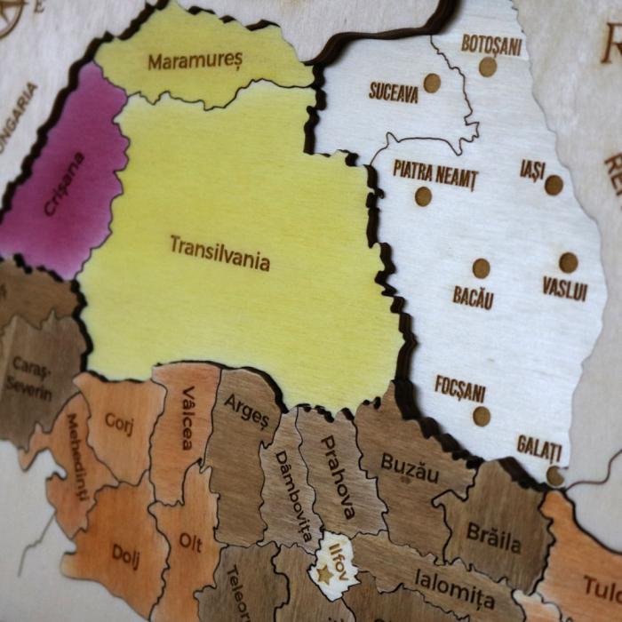 Puzzle Dublu Din Lemn, Gravat, Harta Romaniei Pe Judete Si Regiuni 8