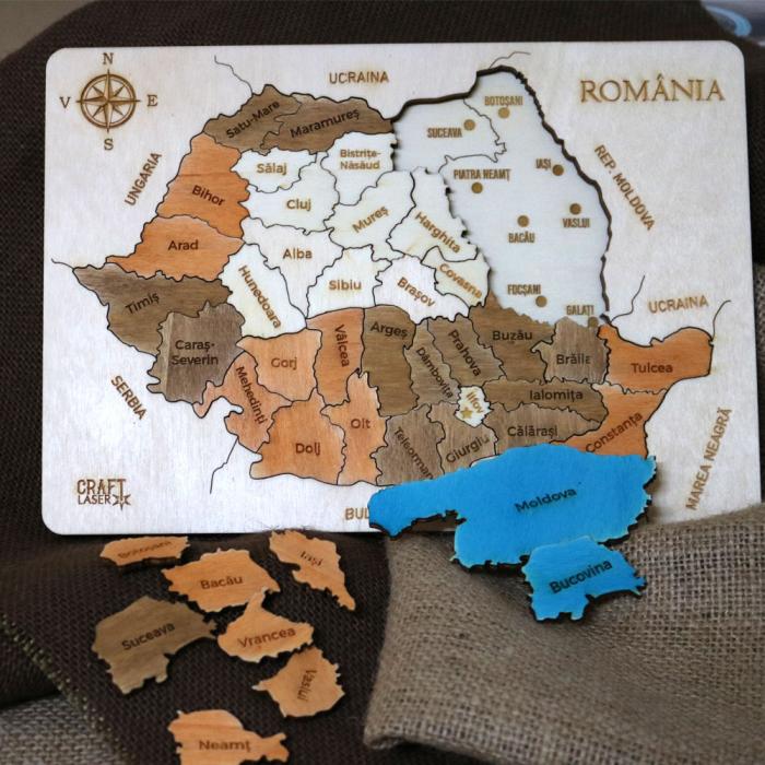 Puzzle Dublu Din Lemn, Gravat, Harta Romaniei Pe Judete Si Regiuni 7
