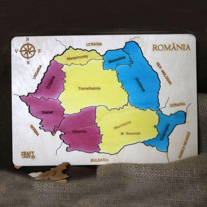 Puzzle Dublu Din Lemn, Gravat, Harta Romaniei Pe Judete Si Regiuni 12