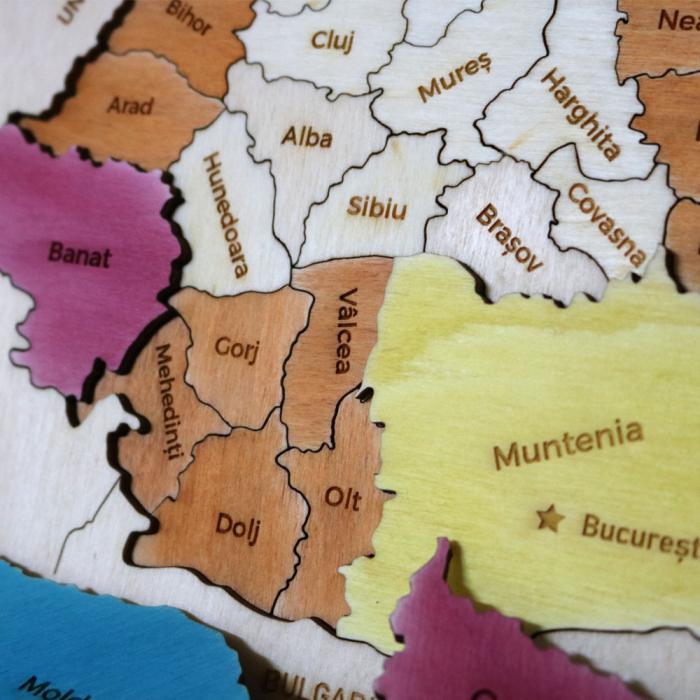 Puzzle Dublu Din Lemn, Gravat, Harta Romaniei Pe Judete Si Regiuni 0