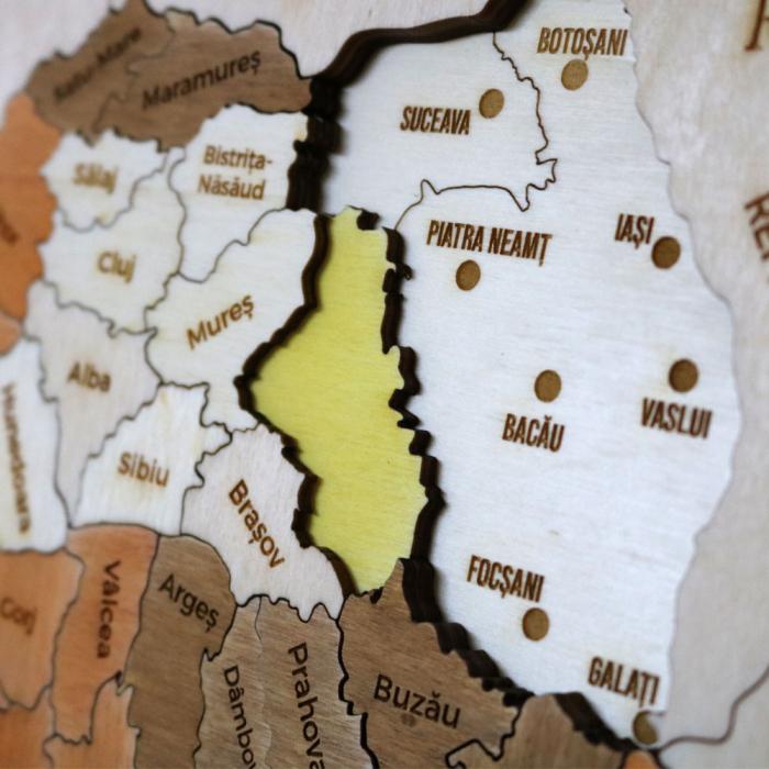 Puzzle Dublu Din Lemn, Gravat, Harta Romaniei Pe Judete Si Regiuni 9