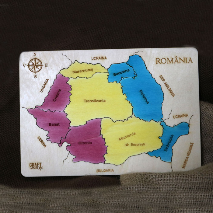 Puzzle Dublu Din Lemn, Gravat, Harta Romaniei Pe Judete Si Regiuni 14