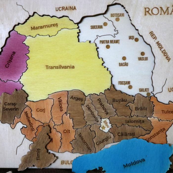 Puzzle Dublu Din Lemn, Gravat, Harta Romaniei Pe Judete Si Regiuni 10