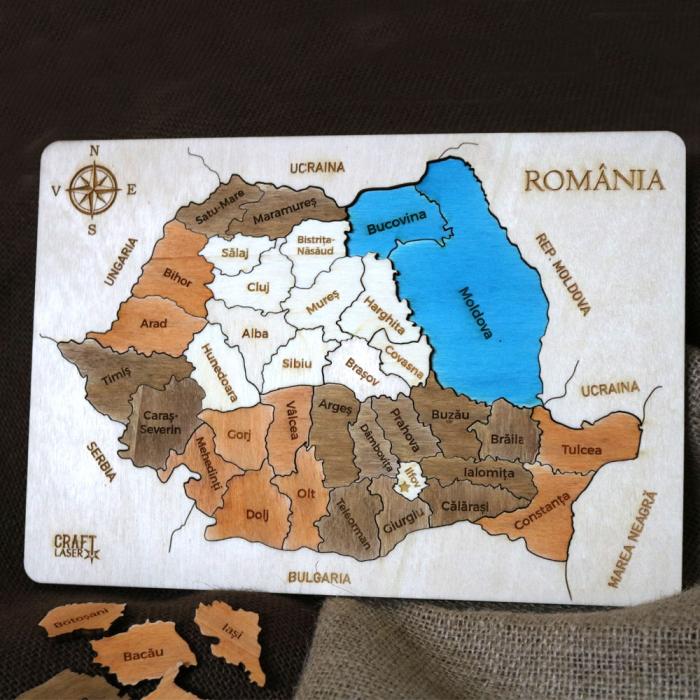 Puzzle Dublu Din Lemn, Gravat, Harta Romaniei Pe Judete Si Regiuni 6