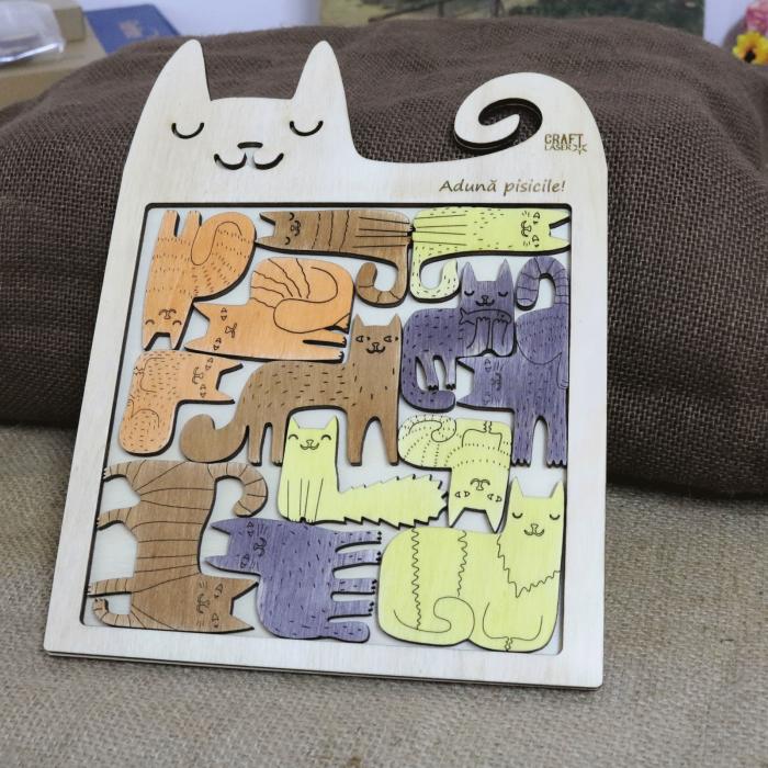 "Puzzle Educativ Din Lemn, Gravat ""Aduna Pisicile"" [0]"