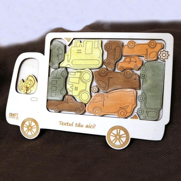 """Puzzle Educativ Din Lemn, Gravat """"Camionul Cu Masini"""" 0"""