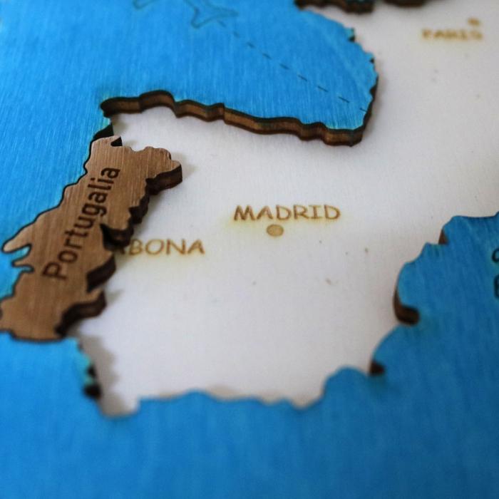 Puzzle Educativ Din Lemn, Gravat, Harta Europei Pe Tari Si Capitale 7