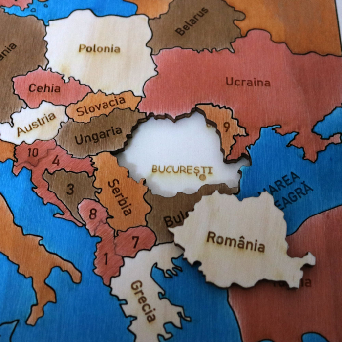 Puzzle Educativ Din Lemn, Gravat, Harta Europei Pe Tari Si Capitale 5