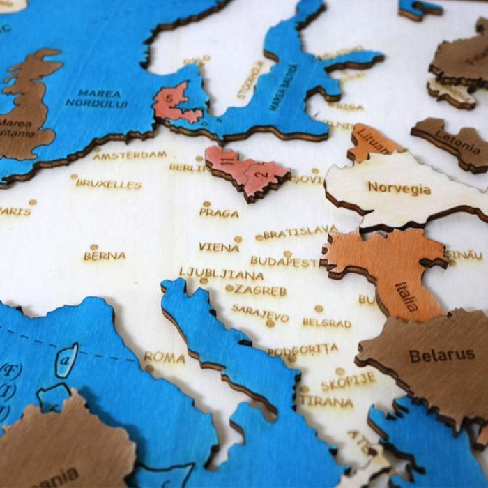 Puzzle Educativ Din Lemn, Gravat, Harta Europei Pe Tari Si Capitale 6