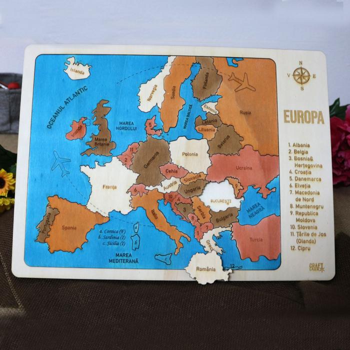 Puzzle Educativ Din Lemn, Gravat, Harta Europei Pe Tari Si Capitale 4
