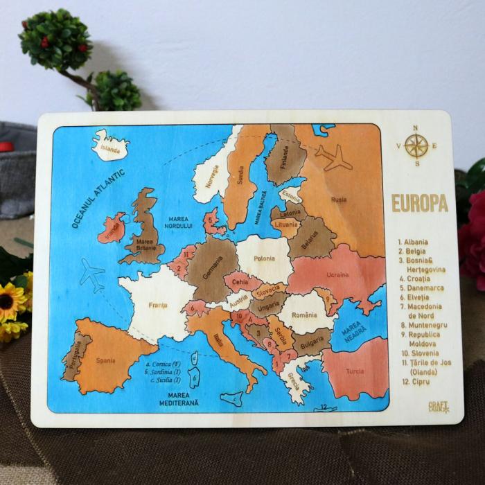 Puzzle Educativ Din Lemn, Gravat, Harta Europei Pe Tari Si Capitale 1