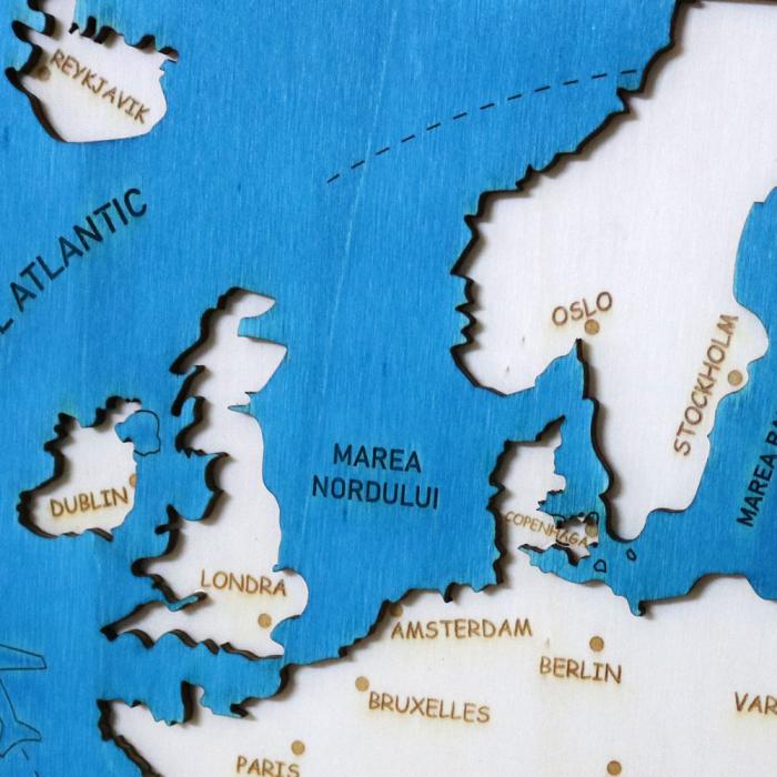 Puzzle Educativ Din Lemn, Gravat, Harta Europei Pe Tari Si Capitale 10