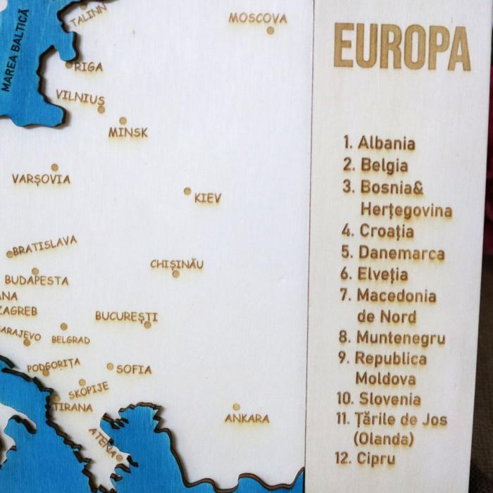 Puzzle Educativ Din Lemn, Gravat, Harta Europei Pe Tari Si Capitale 11