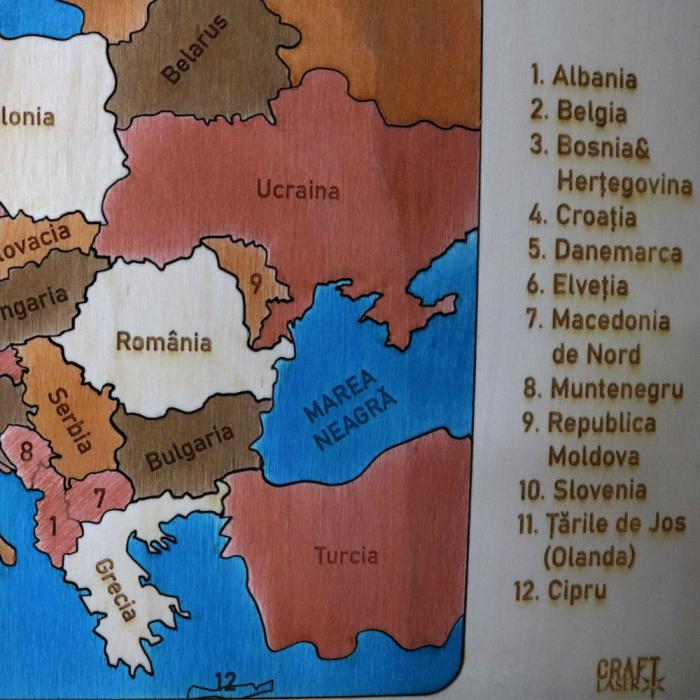 Puzzle Educativ Din Lemn, Gravat, Harta Europei Pe Tari Si Capitale 2