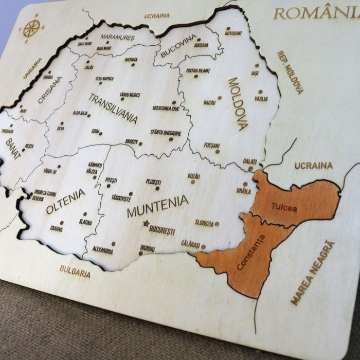 Puzzle Educativ Din Lemn, Gravat, Harta Romaniei Pe Judete Si Orase 5
