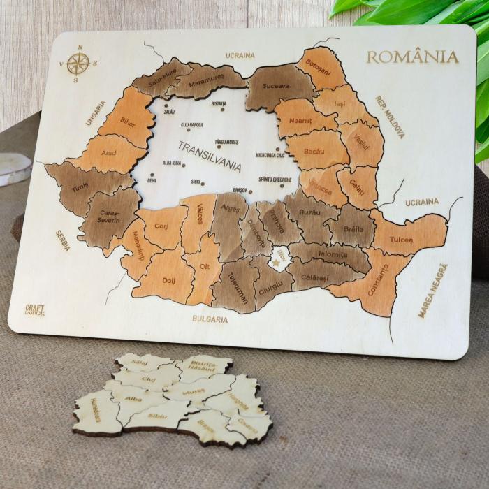 Puzzle Educativ Din Lemn, Gravat, Harta Romaniei Pe Judete Si Orase 1