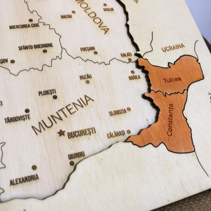 Puzzle Educativ Din Lemn, Gravat, Harta Romaniei Pe Judete Si Orase 6