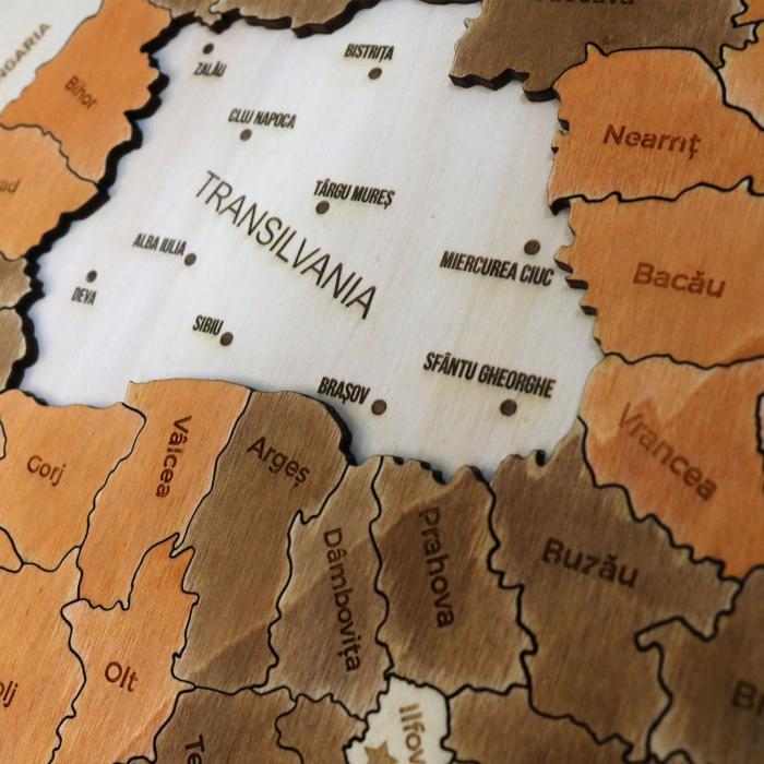 Puzzle Educativ Din Lemn, Gravat, Harta Romaniei Pe Judete Si Orase 3