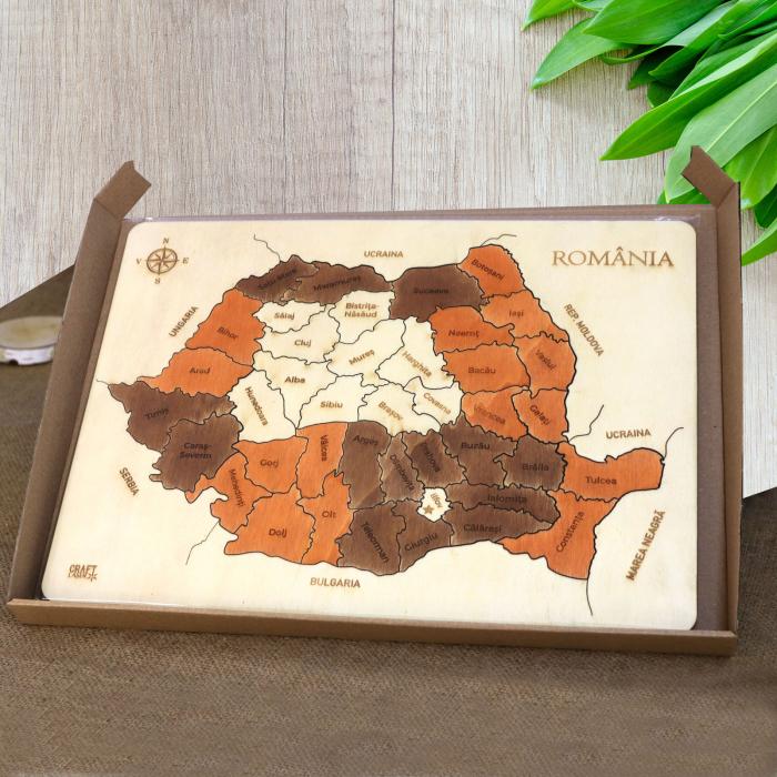 Puzzle Educativ Din Lemn, Gravat, Harta Romaniei Pe Judete Si Orase 8