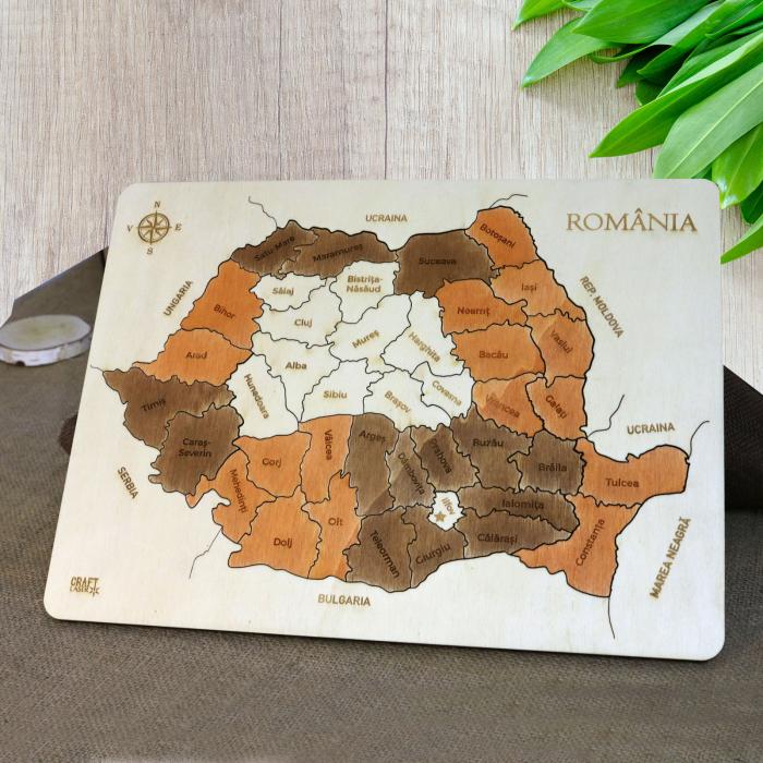 Puzzle Educativ Din Lemn, Gravat, Harta Romaniei Pe Judete Si Orase 0