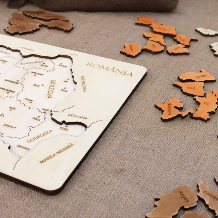 Puzzle Educativ Din Lemn, Gravat, Harta Romaniei Pe Judete Si Orase 7