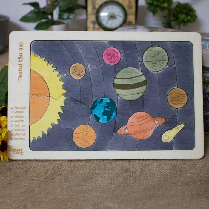 """Puzzle Educativ Pentru Copii , Din Lemn, """"Planete Ale Sistemului Solar"""" [0]"""