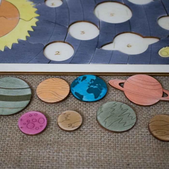 """Puzzle Educativ Pentru Copii , Din Lemn, """"Planete Ale Sistemului Solar"""" [2]"""