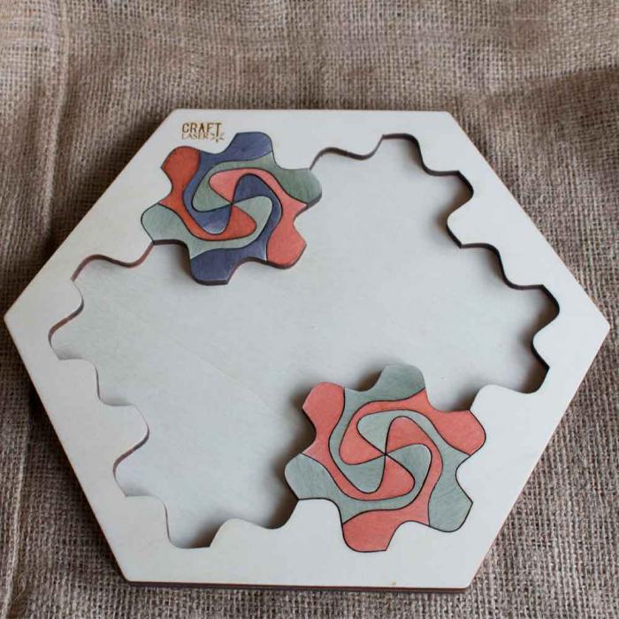"""Puzzle Pentru Adulti Si Copii, Din Lemn, """"Mandala"""" Personalizat [6]"""