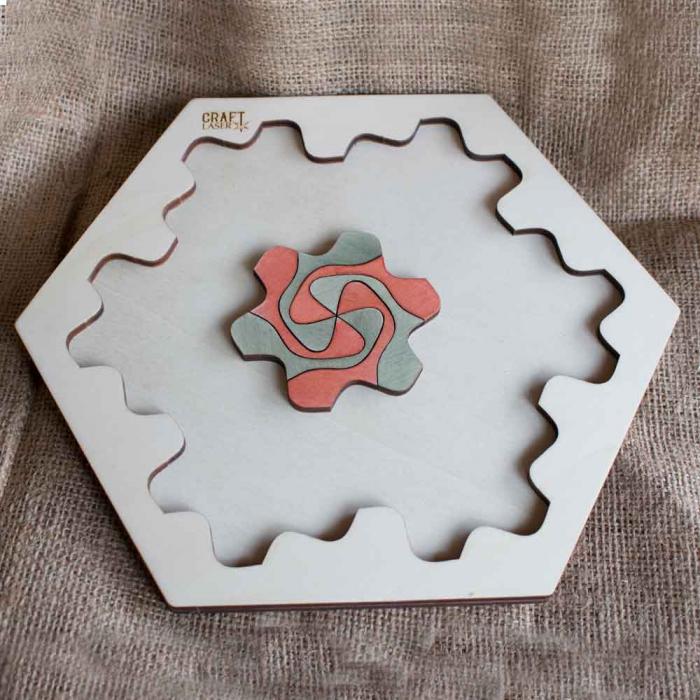 """Puzzle Pentru Adulti Si Copii, Din Lemn, """"Mandala"""" Personalizat [5]"""