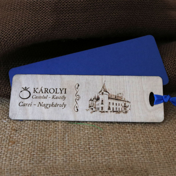 Semn de carte din lemn, gravat Castelul Karolyi Carei [4]