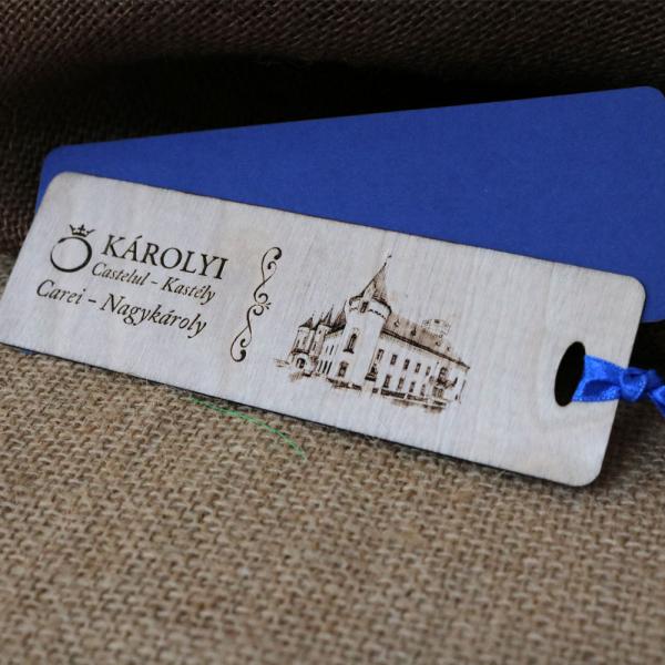 Semn de carte din lemn, gravat Castelul Karolyi Carei [3]
