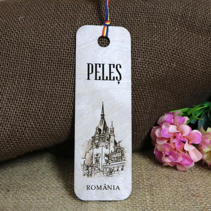 """Semn de carte, din lemn, Gravat """"Castelul Peles"""" Sinaia 0"""