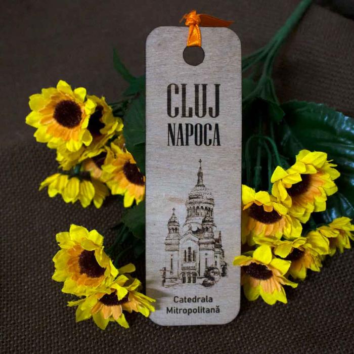 """Semn de carte din lemn, Gravat, """"Catedrala Mitropolitana"""" Cluj Napoca 2"""