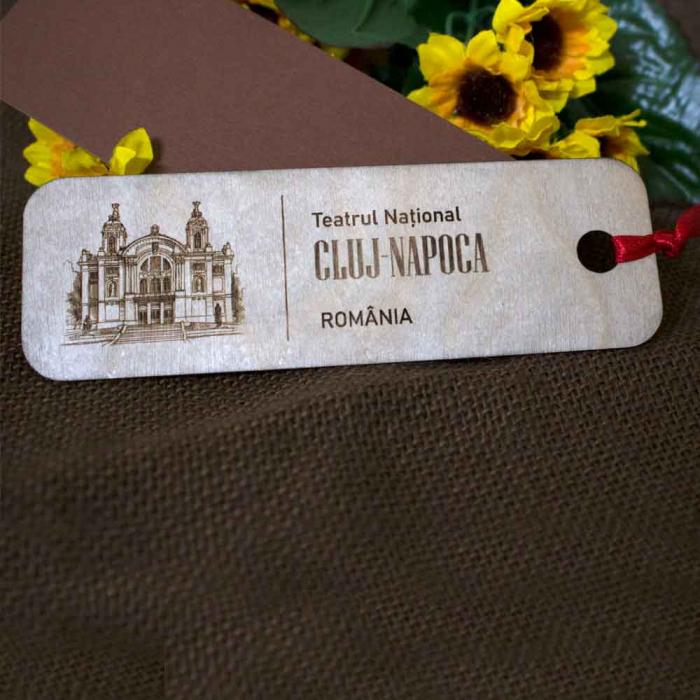 """Semn de carte din lemn Gravat """"Teatrul National"""" Cluj Napoca 1"""