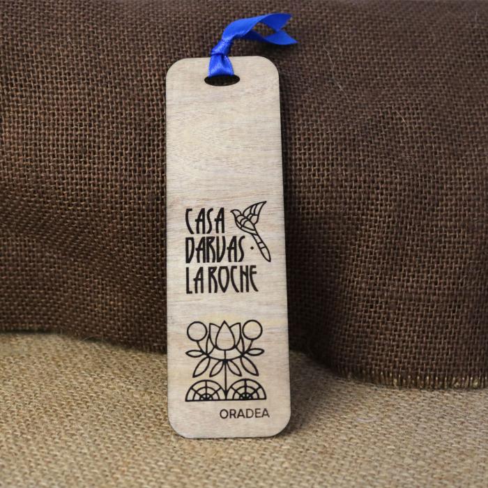 Semn de carte din lemn, suvenir, Gravat, simboluri Art Nouveau, Casa Darvas La Roche Oradea [0]