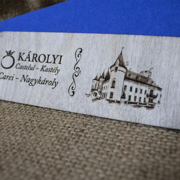 Semn de carte din lemn, gravat Castelul Karolyi Carei [1]