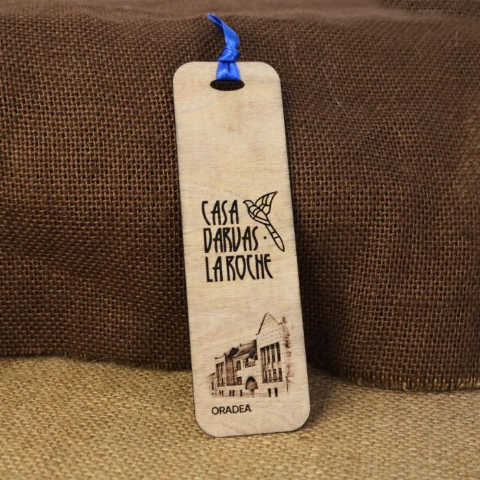 Semn de carte suvenir, din lemn, Gravat, Casa Darvas La Roche, Art Nouveau, Oradea [0]
