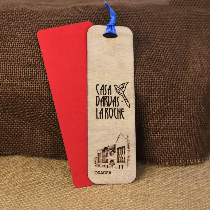 Semn de carte suvenir, din lemn, Gravat, Casa Darvas La Roche, Art Nouveau, Oradea [1]