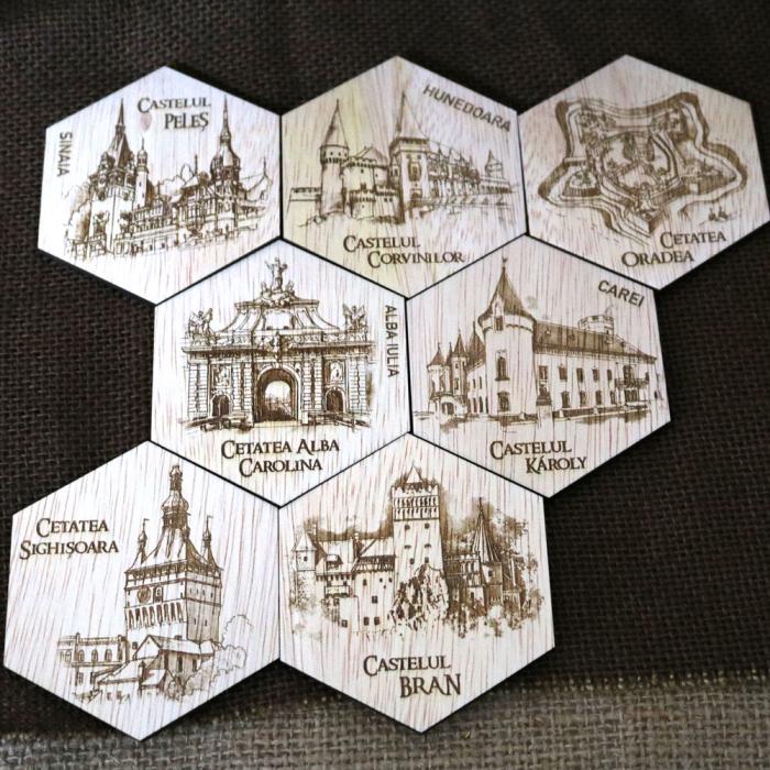 """Set magneti de frigider gravati, """"Cetati si Castele"""" din Romania [0]"""