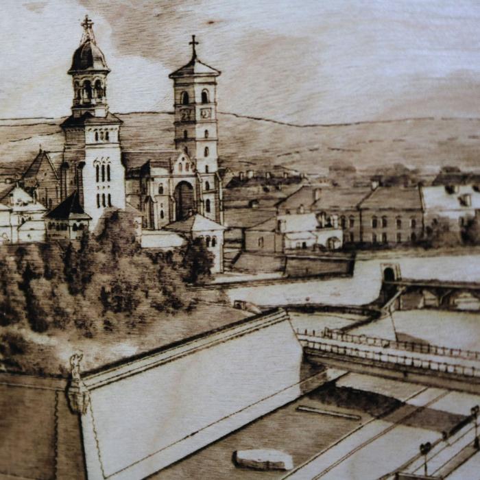 Tablou Gravat Cetatea Alba Carolina, Alba Iulia, dimensiune 10/15, rama inclusa [1]