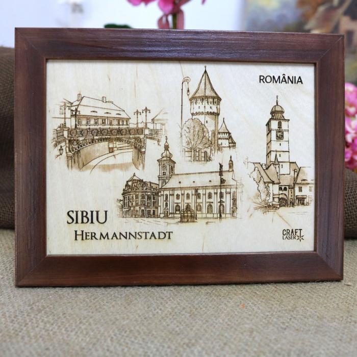 Tablou suvenir Sibiu, gravat (fotogravura), cu rama inclusa 13/18, desen realizat manual [0]