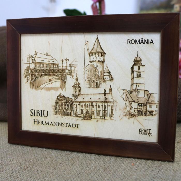 Tablou suvenir Sibiu, gravat (fotogravura), cu rama inclusa 13/18, desen realizat manual [1]