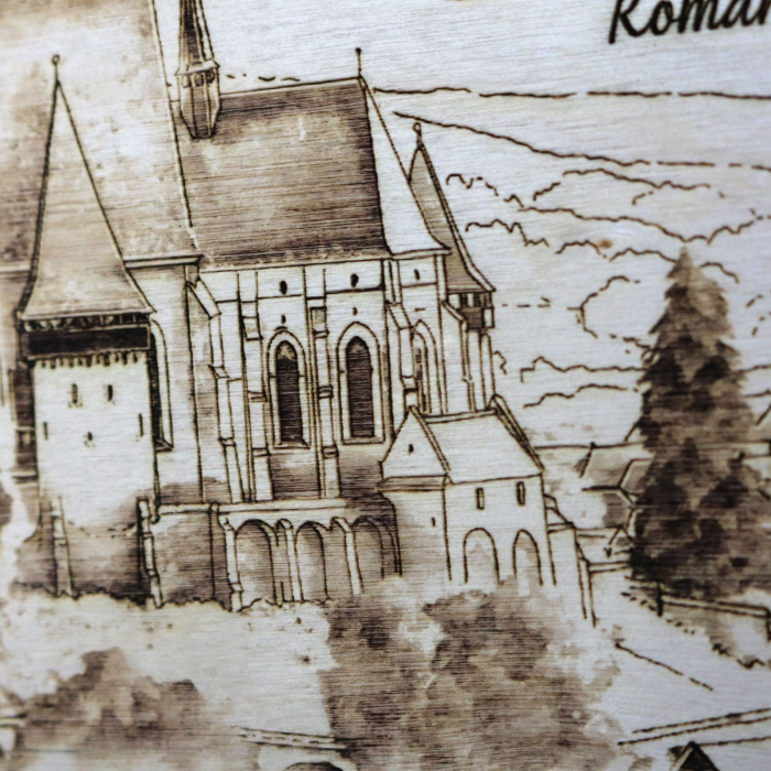 Tablou suvenir Gravat Biserica Fortificata Biertan, dimensiune 10/15, rama inclusa [1]