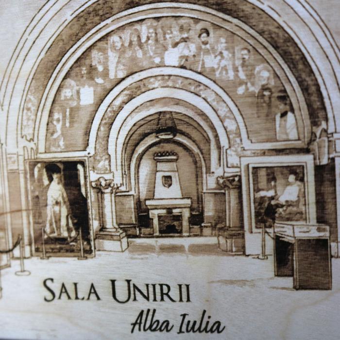 Tablou suvenir Gravat Sala Unirii, Alba Iulia, dimensiune 10/15, rama inclusa [2]