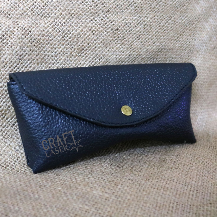 Toc / Etui Ochelari de soare personalizati, din Piele, handmade Sun (Albastru) 1
