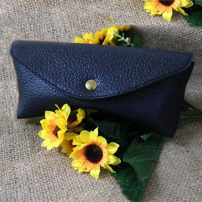 Toc / Etui Ochelari de soare personalizati, din Piele, handmade Sun (Albastru) 3